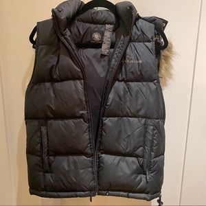 DKNY Jeans Black Down Hooded faux Fur Vest Small